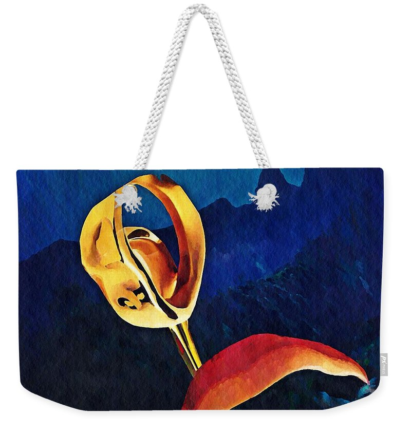 Floral Weekender Tote Bag featuring the mixed media Flower Sculpture by Sarah Loft