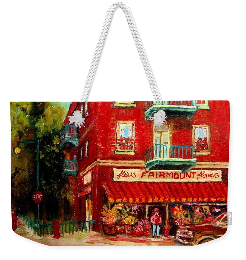 Fairmount Street Weekender Tote Bag featuring the painting Flower Shop On The Corner by Carole Spandau