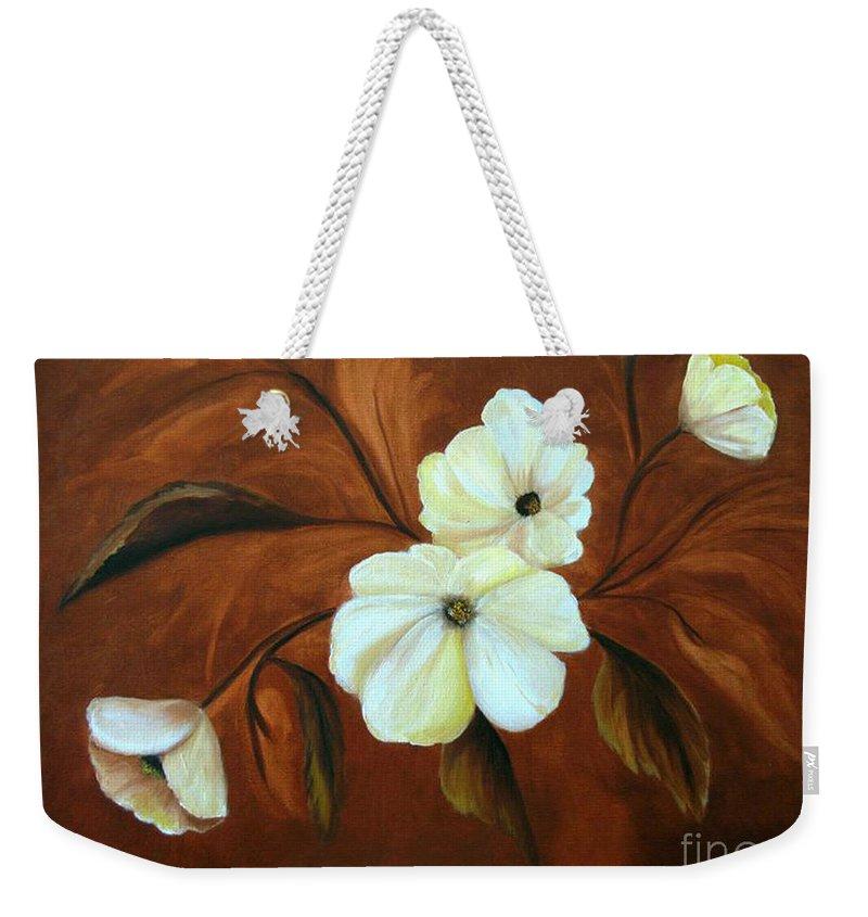 Flowers Weekender Tote Bag featuring the painting Flower Study by Carol Sweetwood