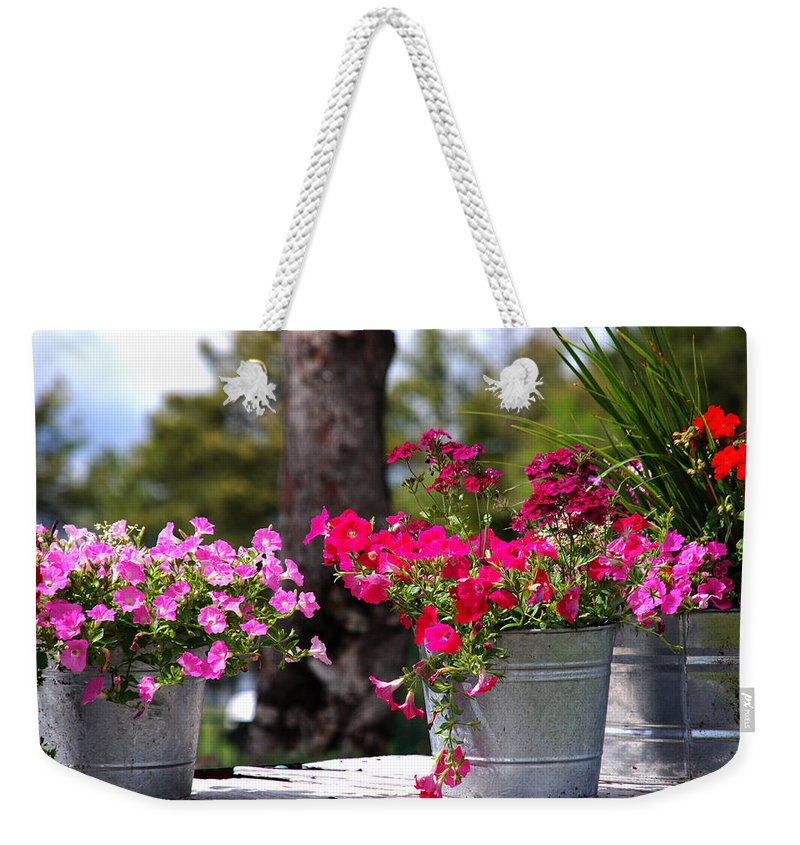 Flower Wagon Weekender Tote Bag featuring the photograph Flower Wagon by Susanne Van Hulst