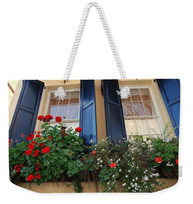 Window Weekender Tote Bag featuring the photograph Flower Window In Charleston Sc by Susanne Van Hulst