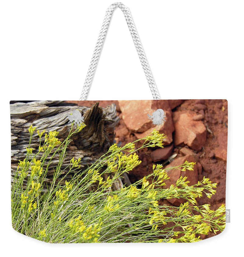 Flower Weekender Tote Bag featuring the photograph Flower Wood And Rock by Marilyn Hunt
