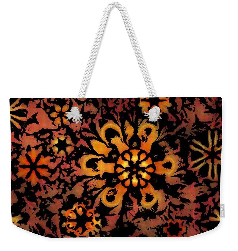 Abstract Digital Painting Weekender Tote Bag featuring the digital art Flower Woodcut by David Lane