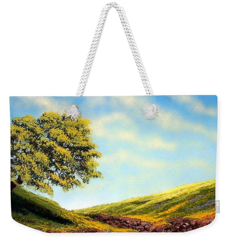 Wildflowers Weekender Tote Bag featuring the painting Flowered Fields by Frank Wilson