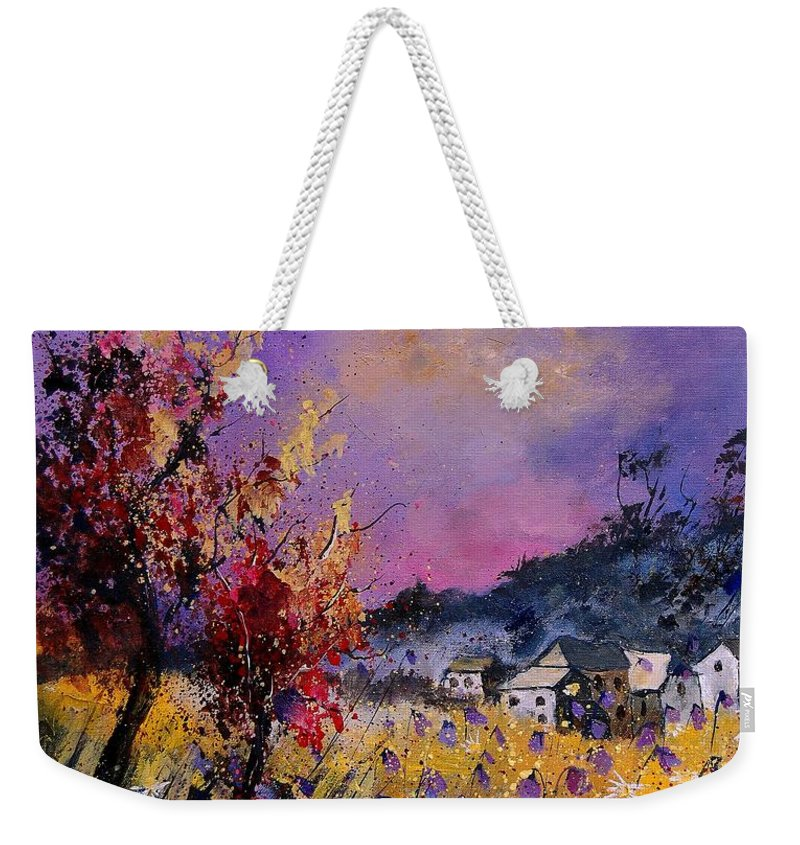 Weekender Tote Bag featuring the painting Flowered Landscape 569070 by Pol Ledent