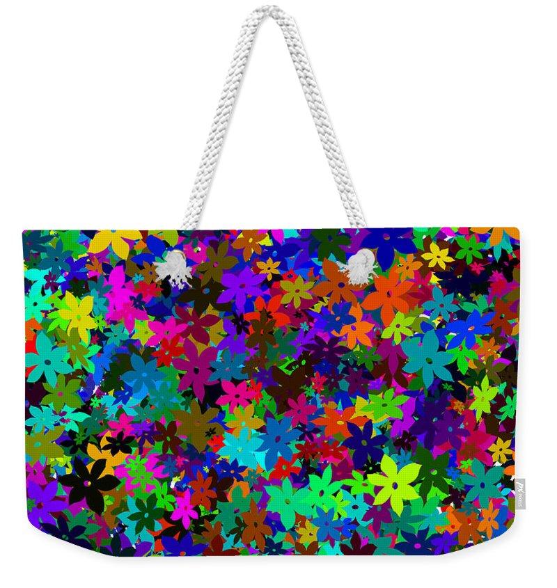 Flower Weekender Tote Bag featuring the digital art Flowers Abstract by Svetlana Sewell