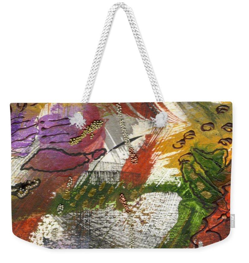 Purple Weekender Tote Bag featuring the mixed media Flowers And Leaves IIi by Angela L Walker