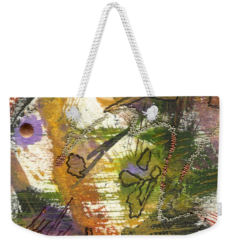 Purple Weekender Tote Bag featuring the mixed media Flowers And Leaves Iv by Angela L Walker