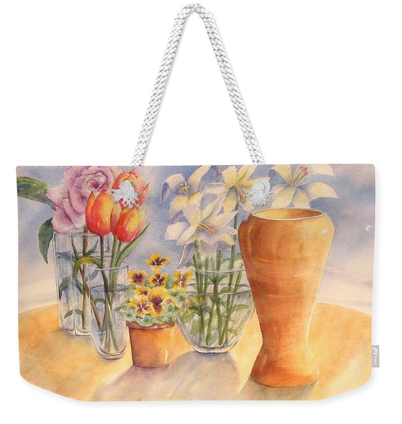 Watercolor Weekender Tote Bag featuring the painting Flowers And Terra Cotta by Debbie Lewis