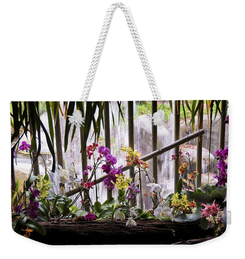 Flower Weekender Tote Bag featuring the photograph Flowers And Waterfall by Steven Sparks