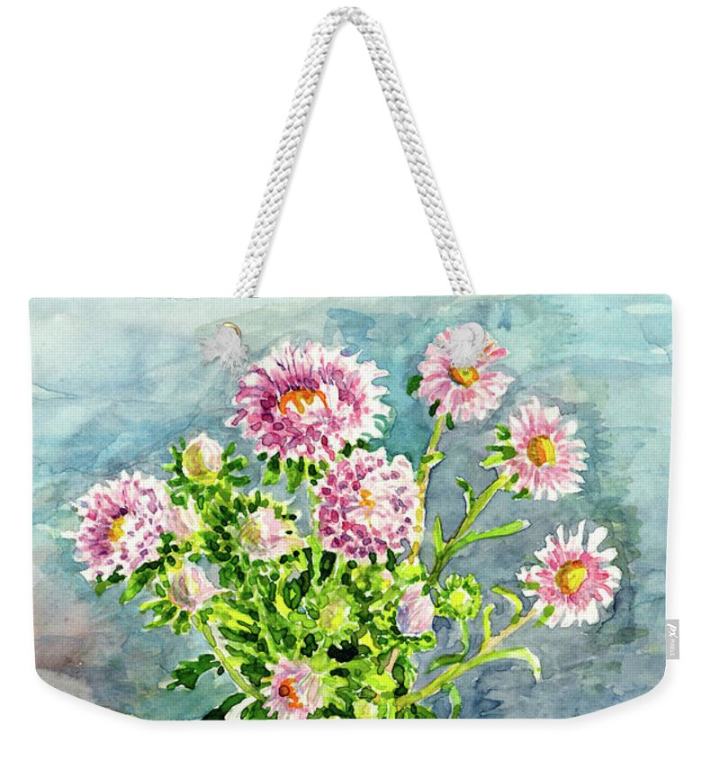 Watercolor Weekender Tote Bag featuring the painting Flowers by Anna Sofia