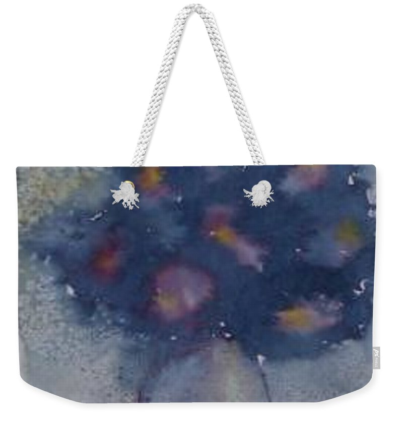 Watercolor Weekender Tote Bag featuring the painting FLOWERS AT NIGHT original abstract gothic surreal art by Derek Mccrea