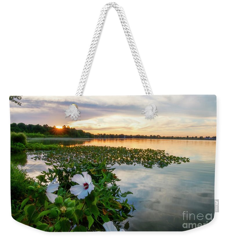 Flowers Weekender Tote Bag featuring the photograph Flowers At Sunset by David Arment