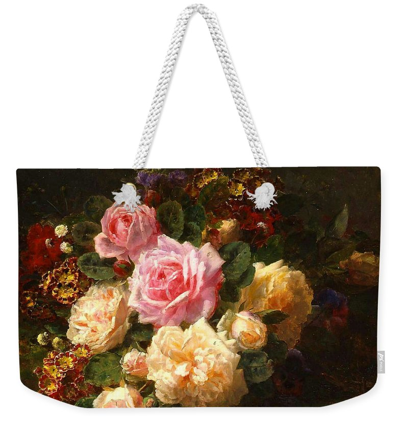 Jean-baptiste Robie Weekender Tote Bag featuring the painting Flowers by Baptiste Robie