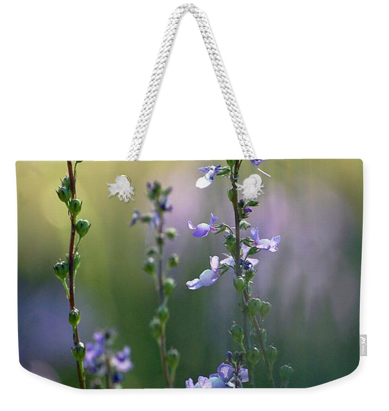 Nature Weekender Tote Bag featuring the photograph Flowers By The Pond by Robert Meanor