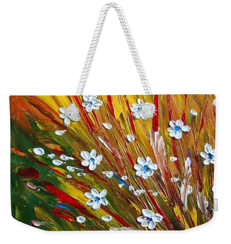 Flowers Weekender Tote Bag featuring the painting Flowers Field by Luiza Vizoli