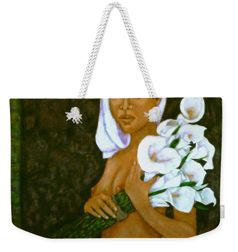 Love Weekender Tote Bag featuring the painting Flowers For An Old Love by Madalena Lobao-Tello