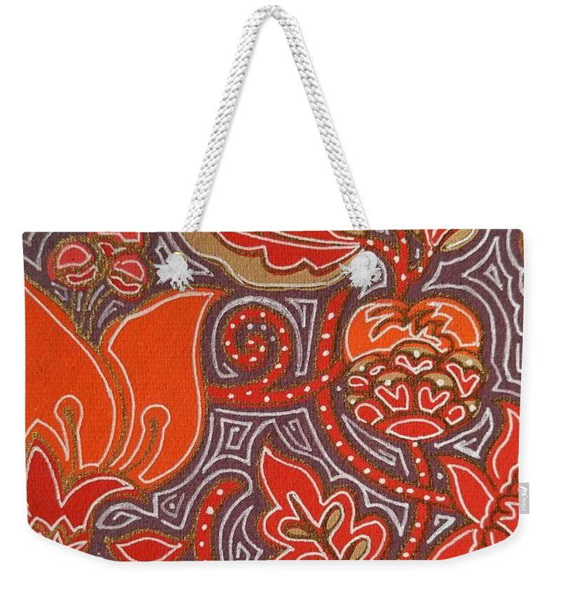 Floral Weekender Tote Bag featuring the drawing Flowers For Fleet Foxes by John Parish