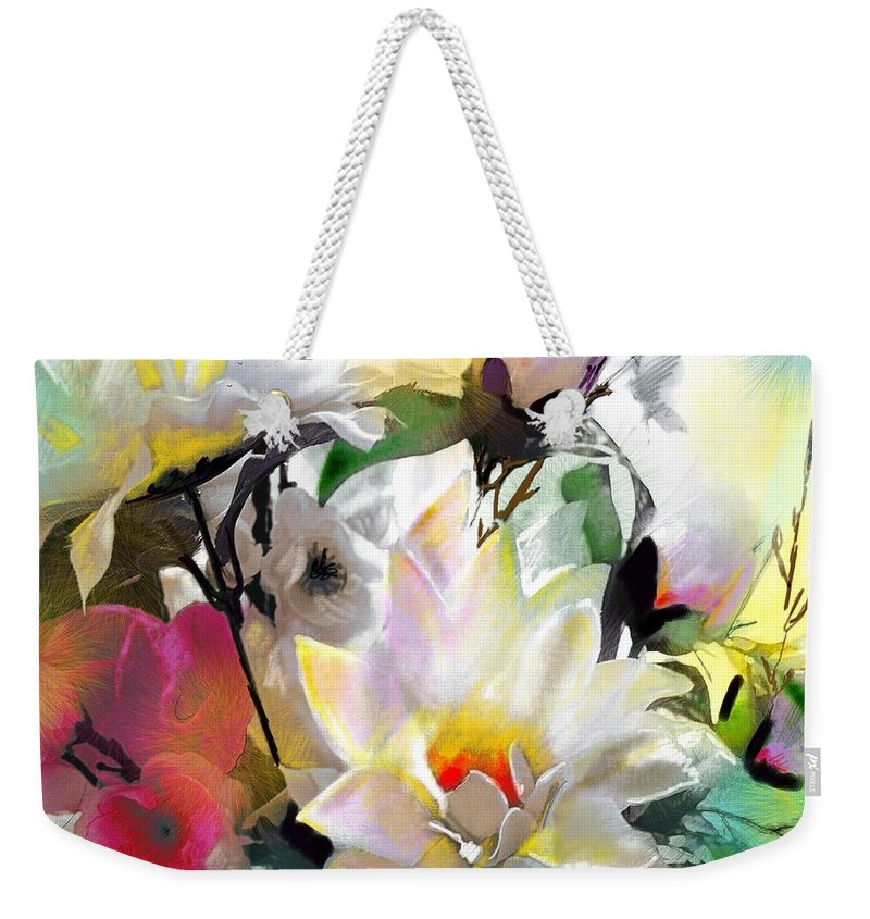 Flowers Painting Drawing Art Weekender Tote Bag featuring the painting Flowers For My Friend by Miki De Goodaboom