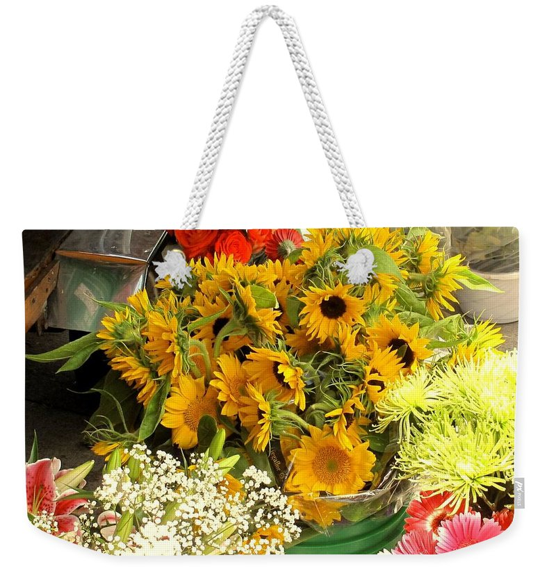 Flowers Weekender Tote Bag featuring the photograph Flowers For Sale by Ian MacDonald