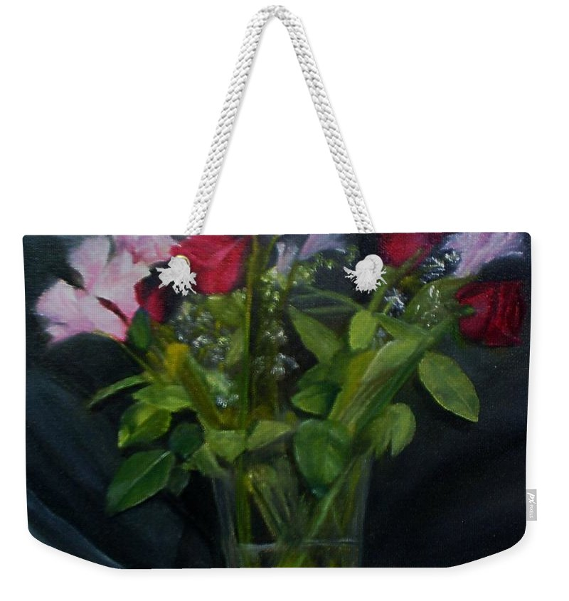 Flowers Weekender Tote Bag featuring the painting Flowers For Sarah by Sheila Mashaw