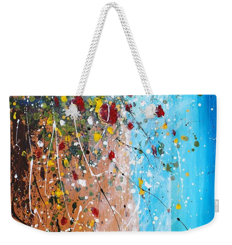 Flowers For The Bees Weekender Tote Bag featuring the painting Flowers For The Bees by Kume Bryant