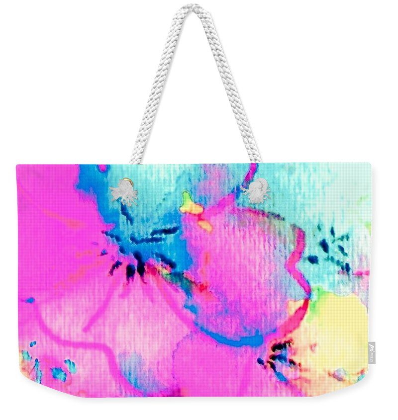 Fantasy Flowers Weekender Tote Bag featuring the painting Fantasy Flowers by Hazel Holland