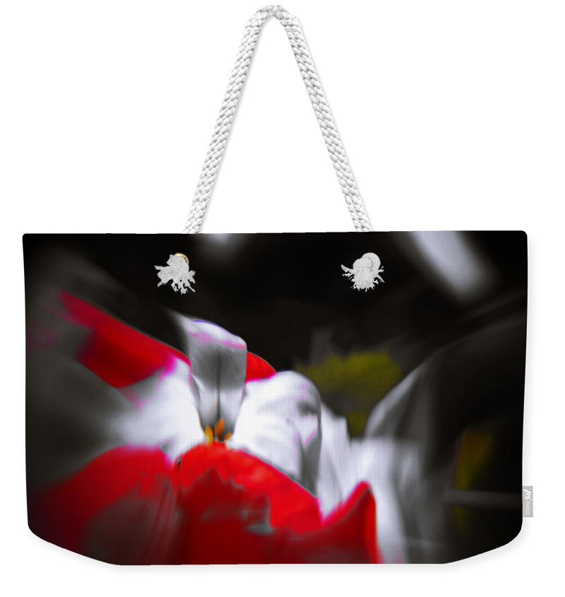 Abstract Weekender Tote Bag featuring the photograph Flowers In Abstract by Scott Wyatt