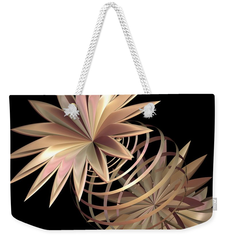 Fractal Weekender Tote Bag featuring the digital art Flowers In Pink by Deborah Benoit