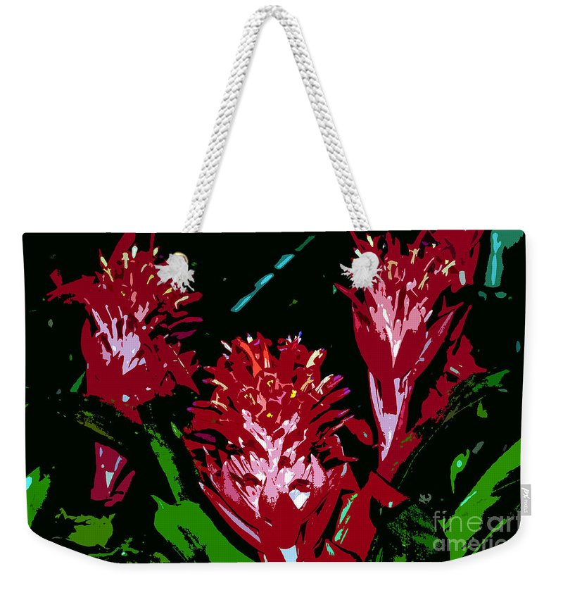Red Weekender Tote Bag featuring the painting Flowers In Red by David Lee Thompson