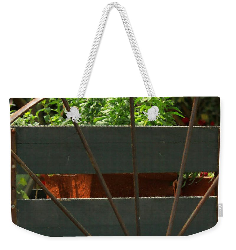 Floral Weekender Tote Bag featuring the photograph Flowers In The Cart by James Eddy