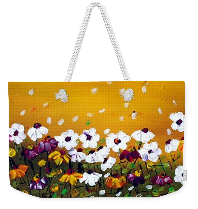 Flowers Weekender Tote Bag featuring the painting Flowers In The Sunset by Luiza Vizoli