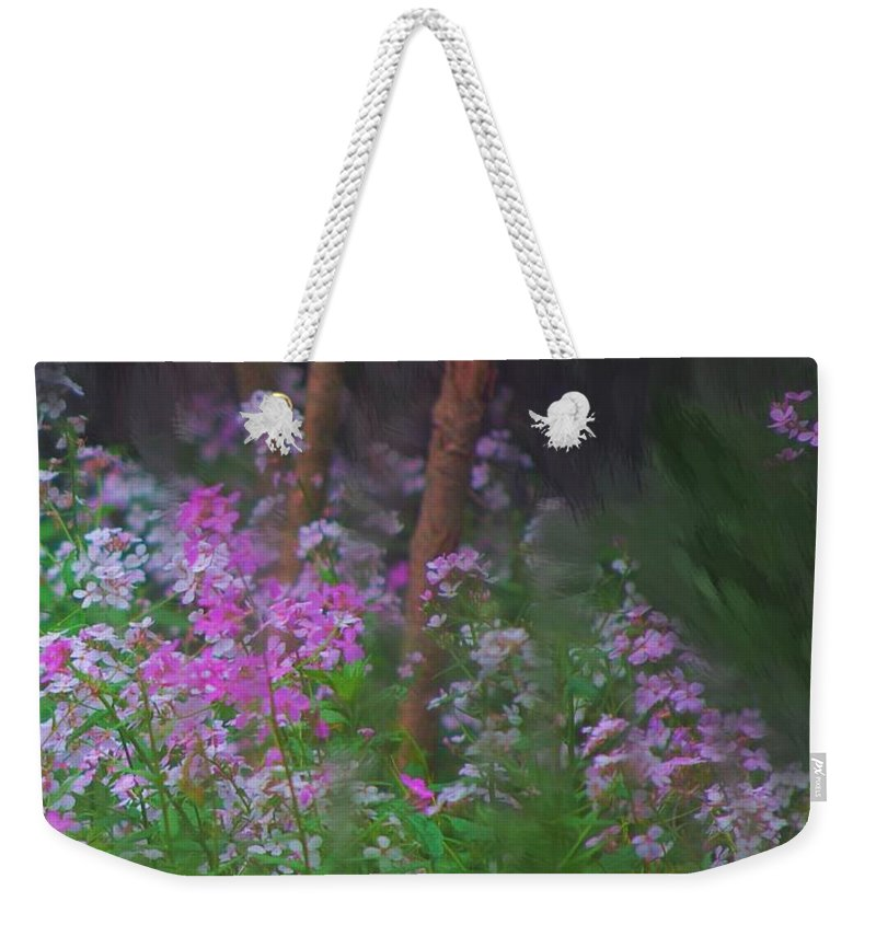 Landscape Weekender Tote Bag featuring the painting Flowers In The Woods by David Lane