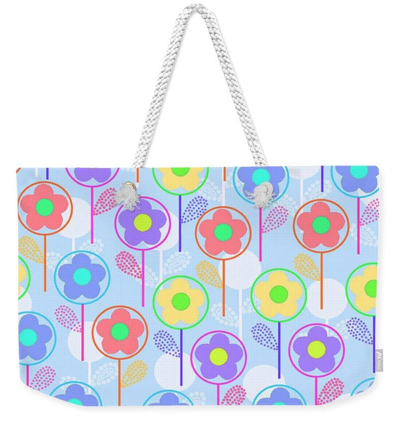 Digital Weekender Tote Bag featuring the digital art Flowers by Louisa Knight