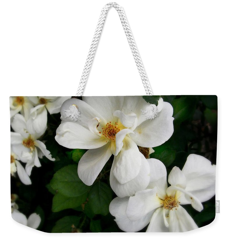 Flower Weekender Tote Bag featuring the photograph Flowers Of The Moon by Miriam Danar