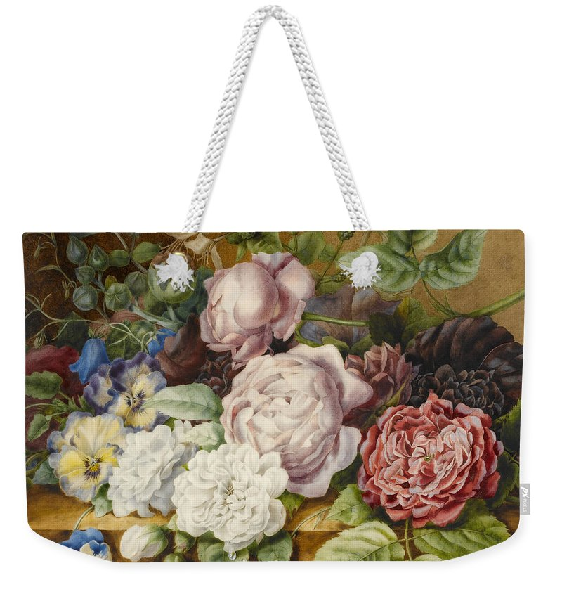 Still-life Weekender Tote Bag featuring the painting Flowers On A Ledge by Ernestine Panckoucke