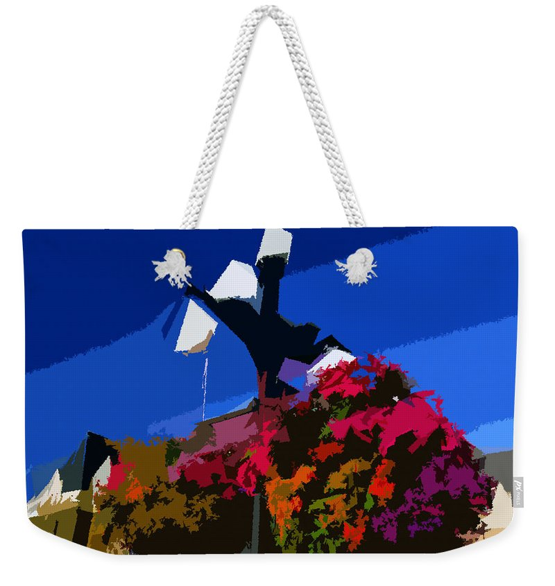 Flowers Weekender Tote Bag featuring the painting Flowers On Lamppost by David Lee Thompson