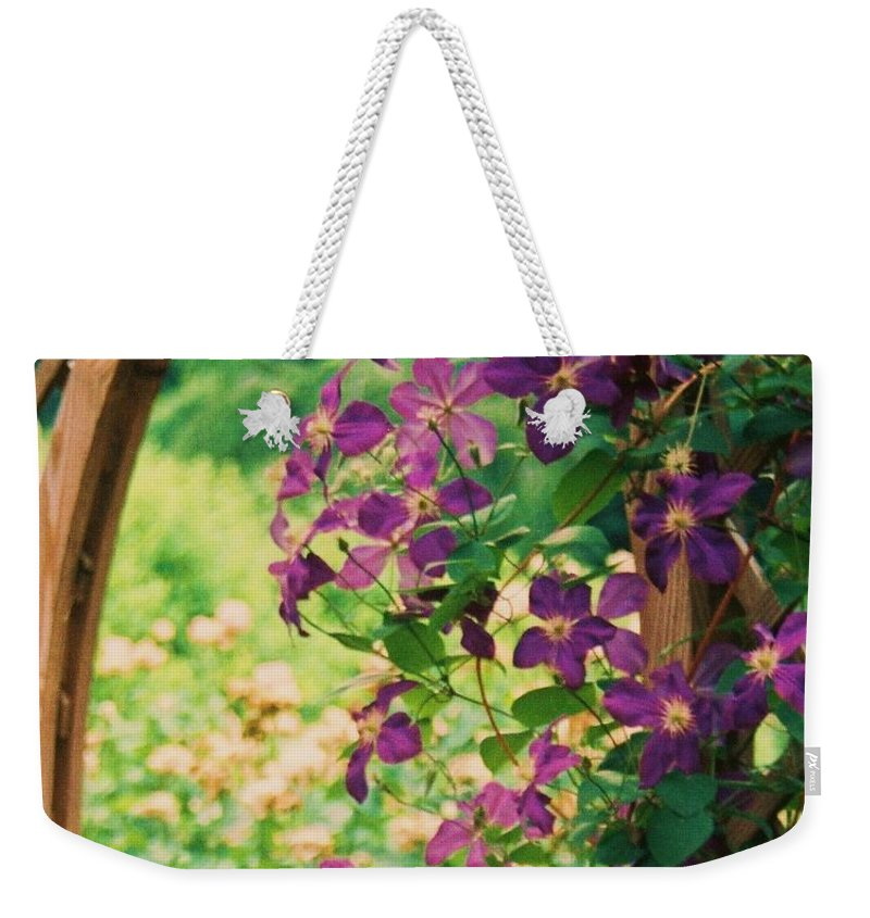 Floral Weekender Tote Bag featuring the painting Flowers On Vine by Eric Schiabor