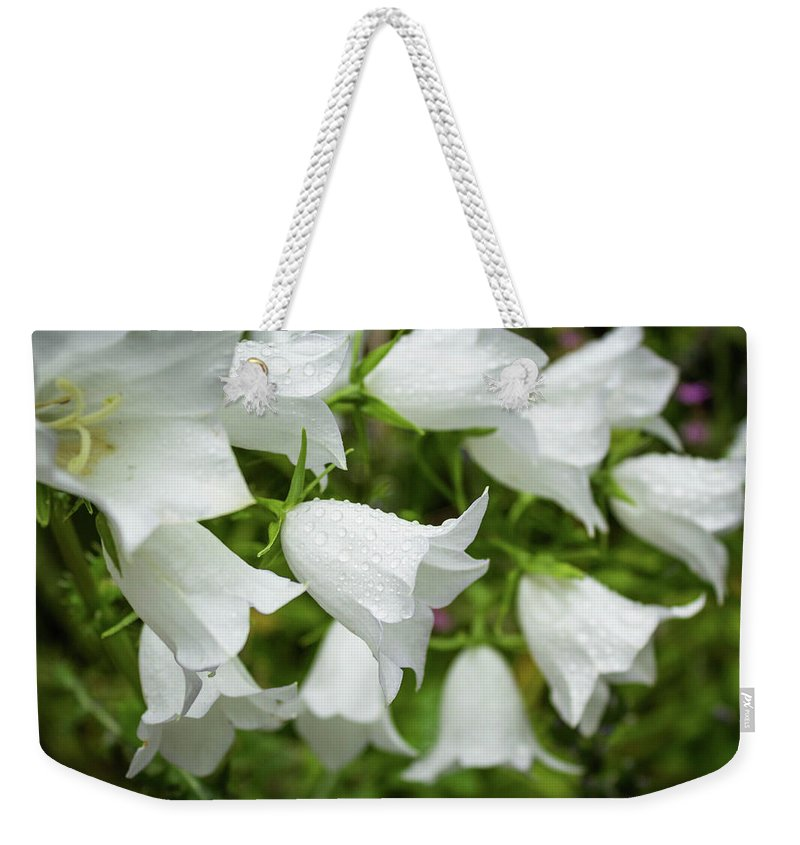 Flower Weekender Tote Bag featuring the photograph Flowers With Droplets 1 by Mark Denton