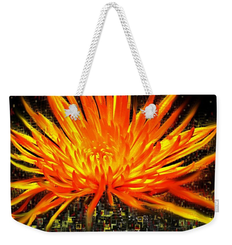 Abstract Weekender Tote Bag featuring the digital art Flowersquared by Ian MacDonald