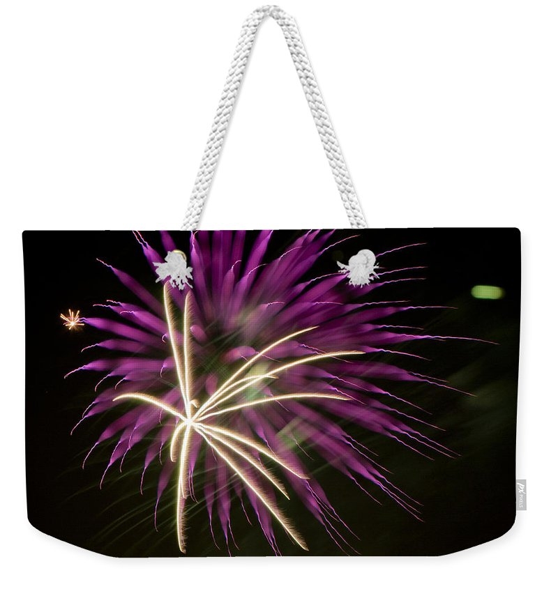 Fireworks Weekender Tote Bag featuring the photograph Flowerworks #15 by Sandy Swanson