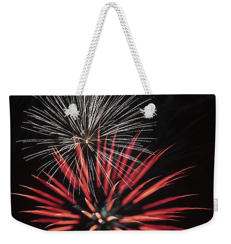 Fireworks Weekender Tote Bag featuring the photograph Flowerworks #3 by Sandy Swanson