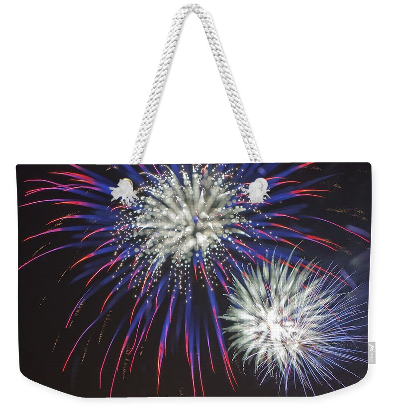 Fireworks Weekender Tote Bag featuring the photograph Flowerworks #4 by Sandy Swanson