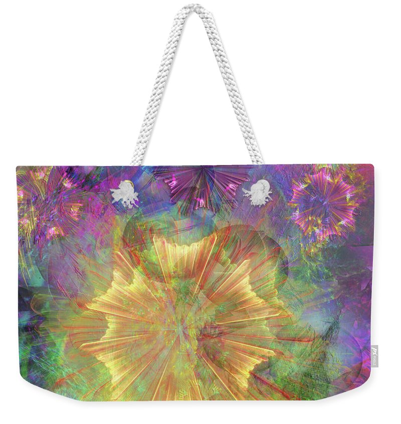 Flowerworks Weekender Tote Bag featuring the digital art Flowerworks by John Beck