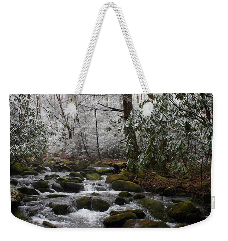 Park Winter Snow White Water Stream Creek Flow River Rock Boulder Tree Green Rush Cold National Weekender Tote Bag featuring the photograph Flowing by Andrei Shliakhau