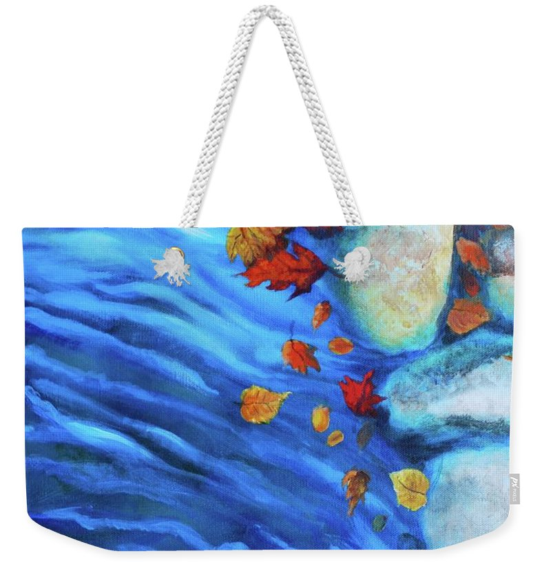Water Weekender Tote Bag featuring the painting Flowing Fall by Haley Grebe