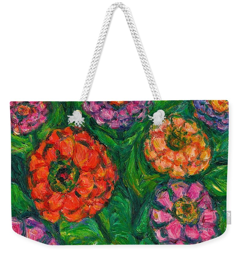 Flowers Weekender Tote Bag featuring the painting Flowing Zinnias by Kendall Kessler