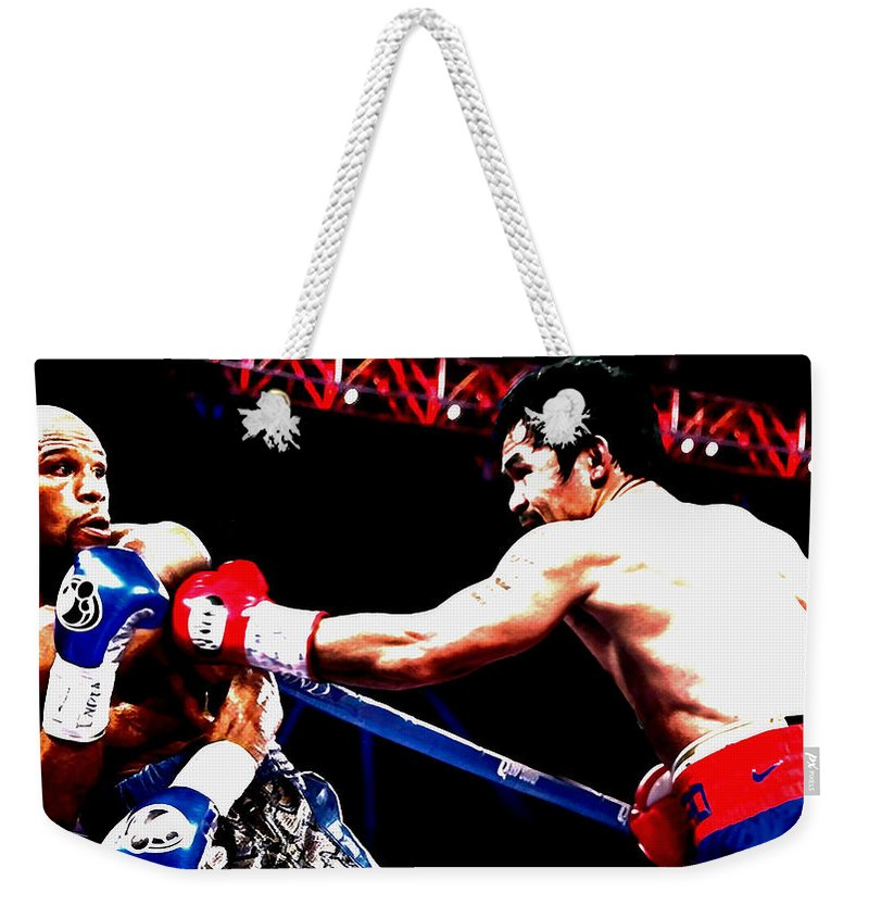 Manny Pacquiao Weekender Tote Bag featuring the mixed media Floyd Mayweather And Manny Pacquiao Going At It by Brian Reaves