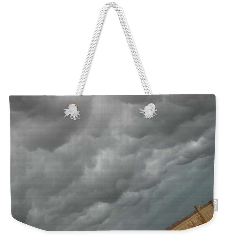 Clouds Weekender Tote Bag featuring the photograph Fluffy Rain Clouds by Amy Hosp