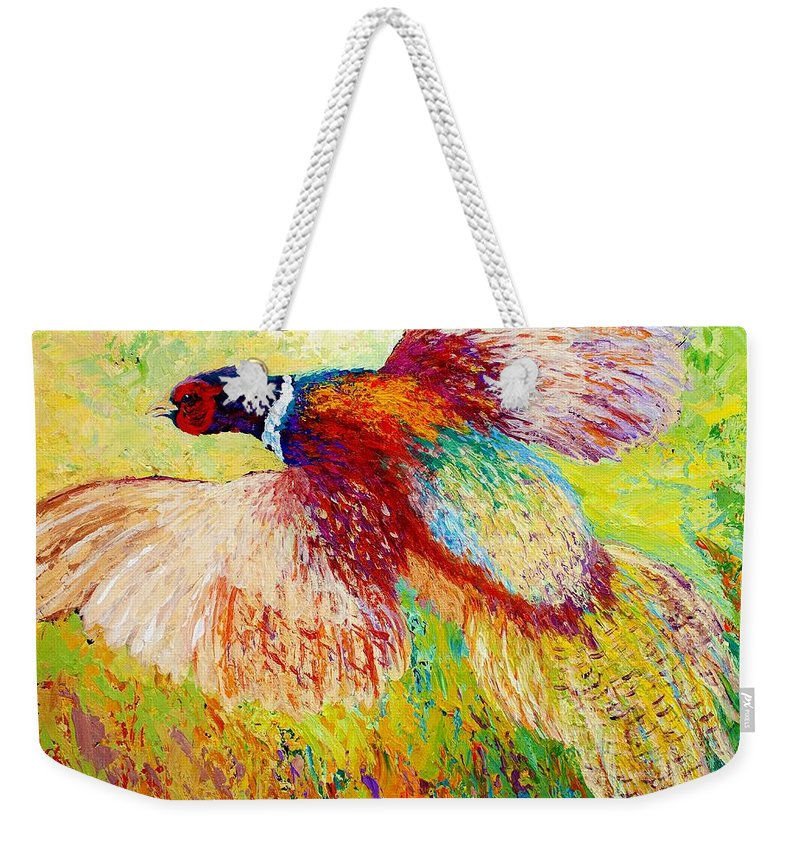 Pheasant Weekender Tote Bag featuring the painting Flushed - Pheasant by Marion Rose